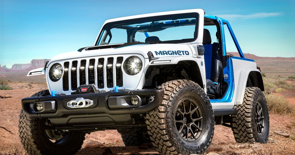 The All-Electric Jeep 'Magneto' Has A Six-Speed Manual Gearbox
