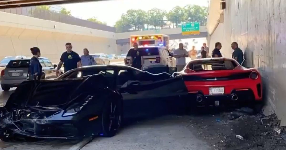Watch And Try Not To Weep As Three Ferraris Crash Into Each Other
