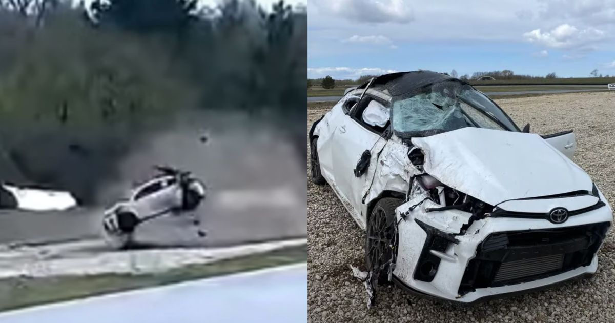 Toyota GR Yaris Destroyed In Dramatic Track Day Roll-Over Crash