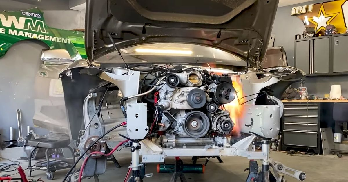 Here's The First-Ever V8-Swapped Tesla Firing Up