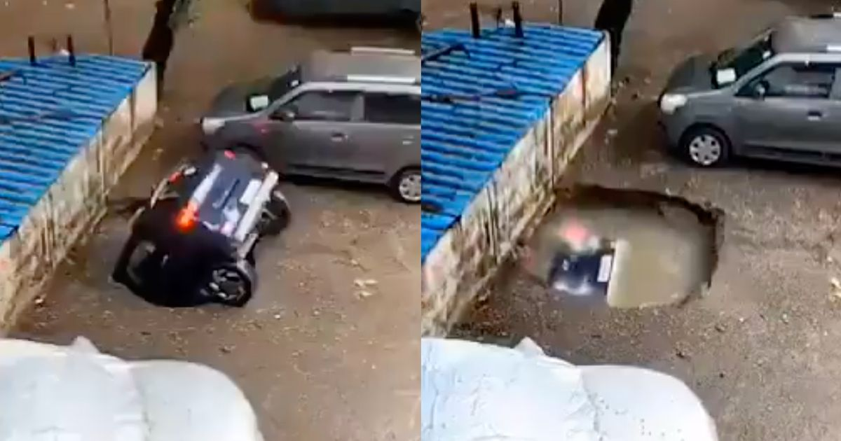 Watch As This Car Is Slowly Swallowed By A Sinkhole